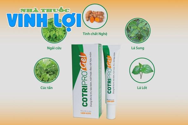 Cotripro Gel có thành phần là các thảo mộc tự nhiên
