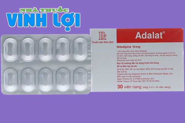 Hình ảnh hộp và vỉ thuốc Adalat 10mg