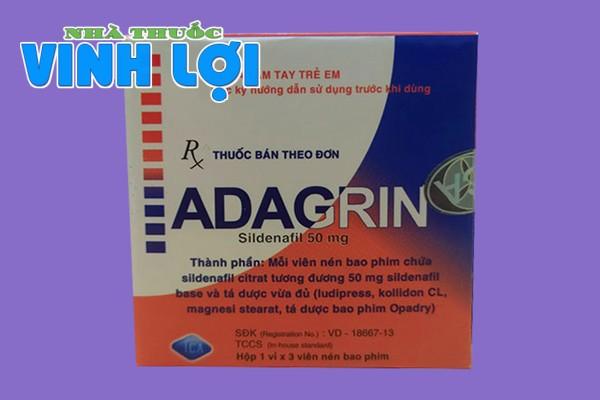Hộp thuốc Adagrin 50mg 3 viên