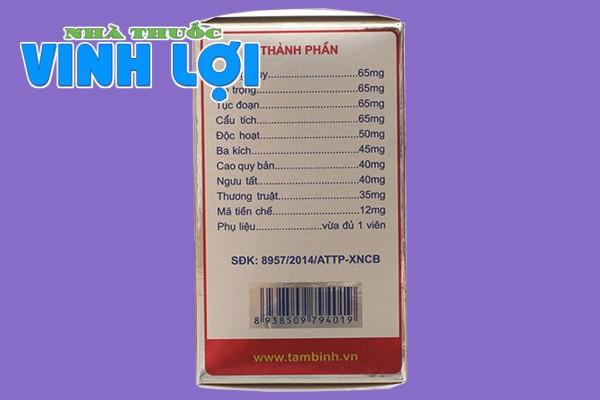 Thành phần của viên khớp Tâm Bình là các thảo dược tự nhiên an toàn