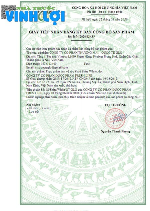 Shira White đã được Bộ Y tế cấp phép chứng nhận an toàn tuyệt đối