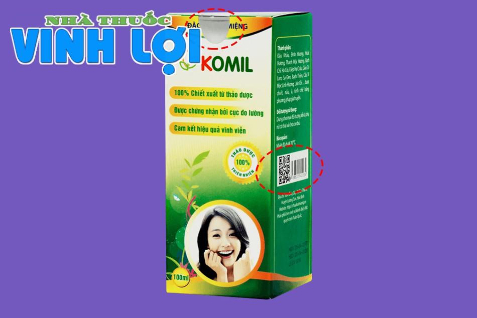 Nhận biết nước súc miệng Komil chính hãng