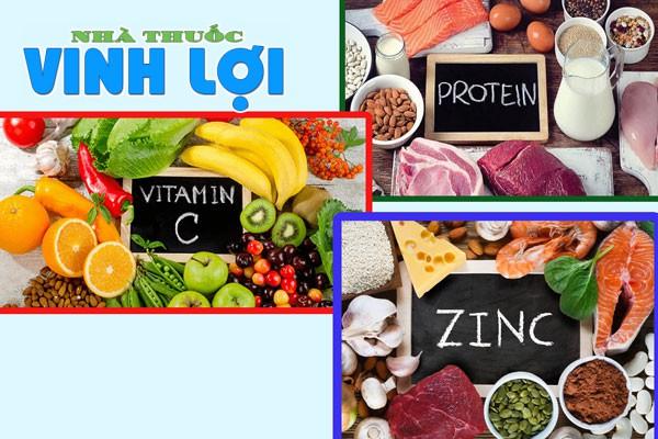 Sử dụng các thực phẩm bổ xung vitamin B, C; protein, kẽm cho vết thương trầy xước