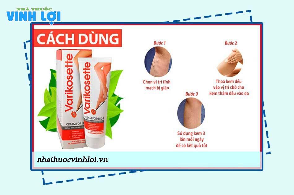Hướng dẫn sử cách sử dụng Varikosette Cream