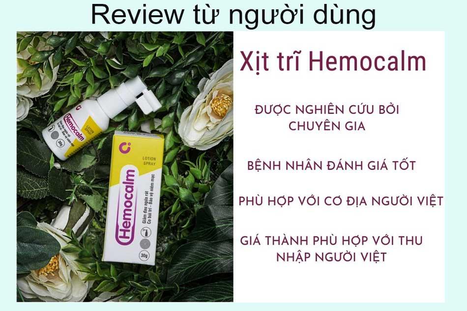 Review Hemocalm từ người dùng
