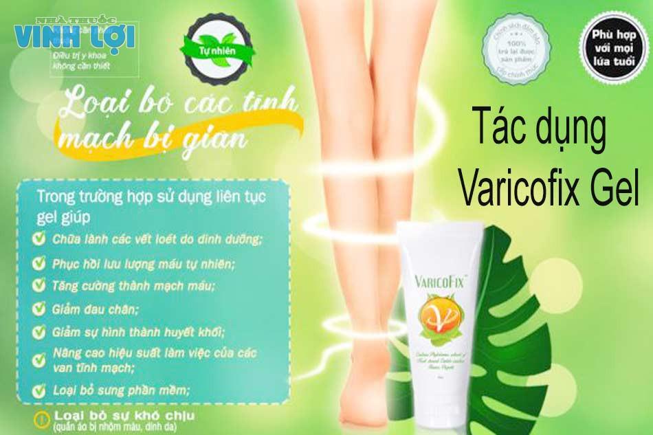 Tác dụng của Varicofix Gel
