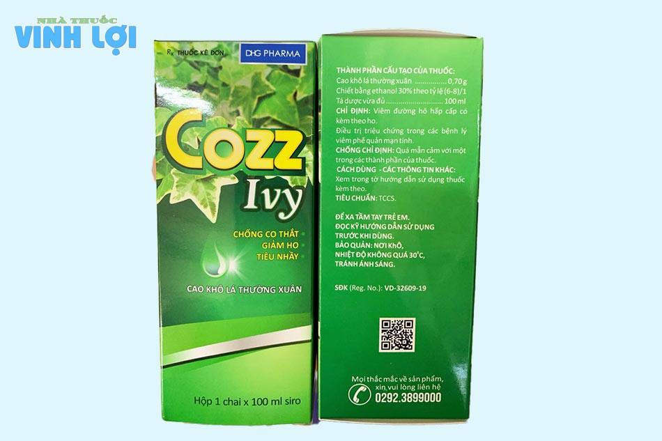 Thành phần Siro ho Cozz Ivy