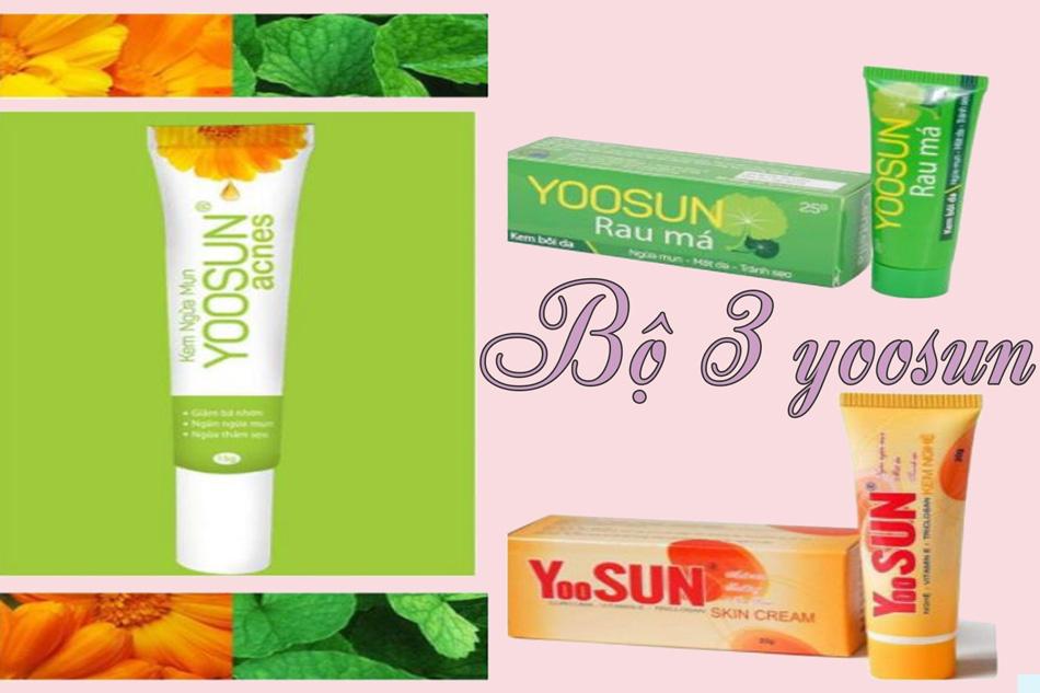 3 sản phẩm của Yoosun: Yoosun Acnes, Yoosun nghệ và Yoosun rau má