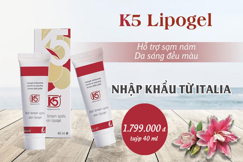 Kem trị nám K5 Lipogel được nghiên cứu và bào chế ở Viện Bào chế Dược Phẩm Fruilchem Spa Italia
