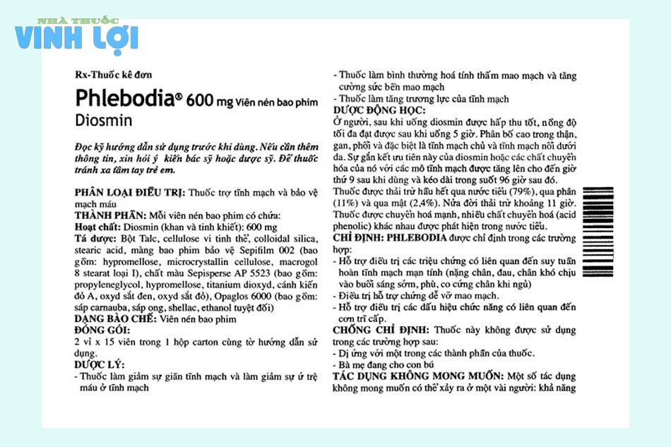Thành phần của thuốc Phlebodia 600mg