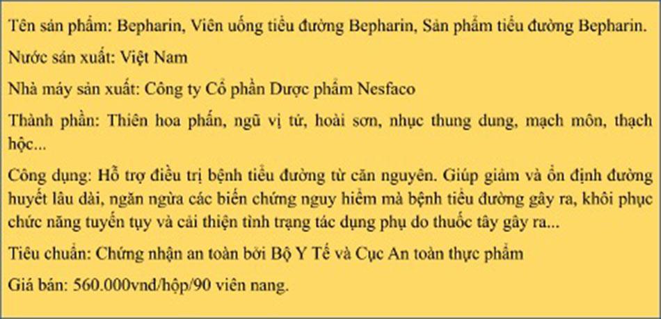 Tổng hợp thông tin của Bepharin