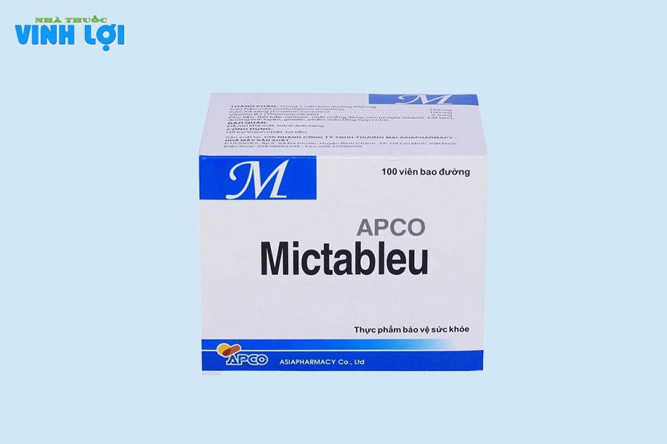 Tương tác thuốc của Mictableu