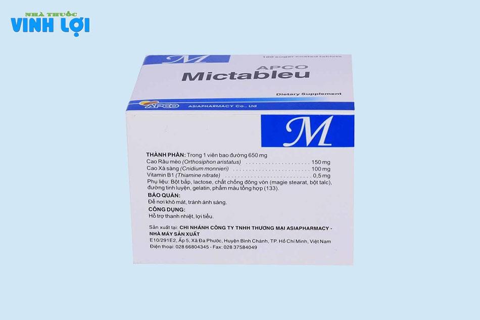 Thành phần của thực phầm chức năng Mictableu